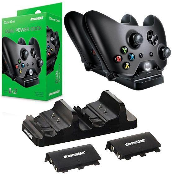 Suporte Carregador Controle Xbox One + 2 Baterias Dreamger
