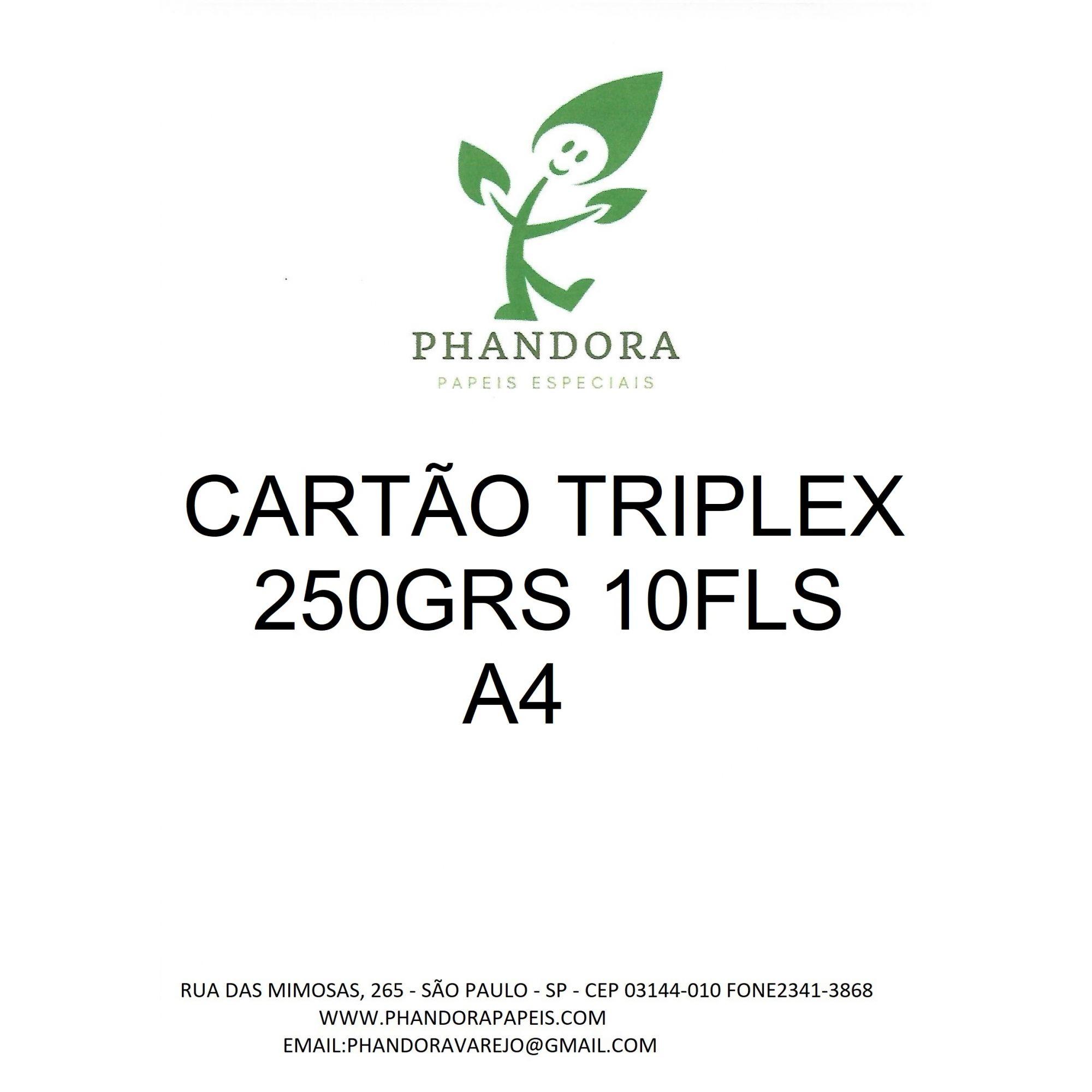 Papel Cartão Triplex 250g a4 embalagem 10 flolhas phandora