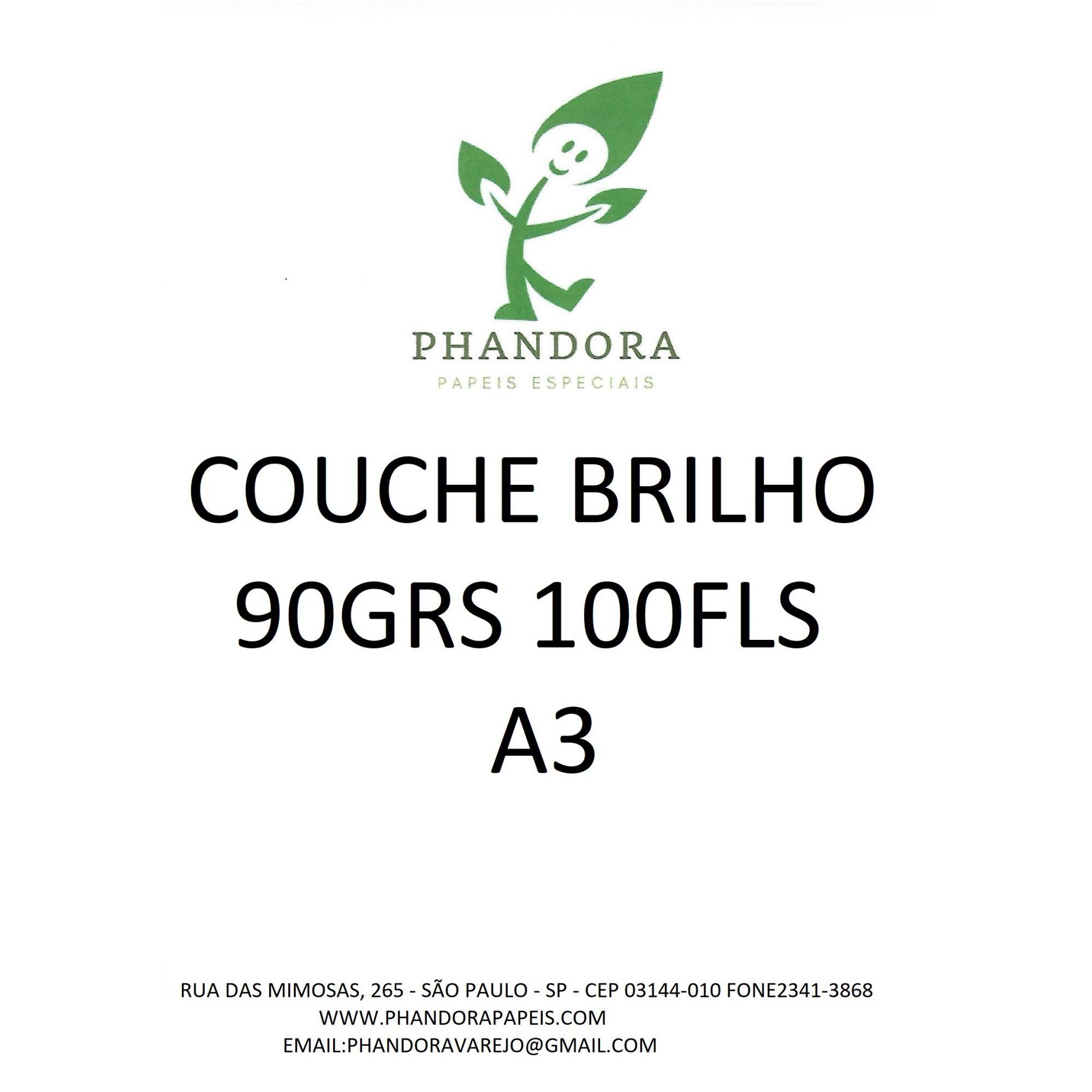 Papel Couche Brilho 90g A3 Embalagem Com 100 Folhas Phandora