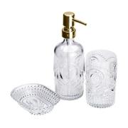 Conjunto 3 Peças para Banheiro de Vidro Pierre Dourado