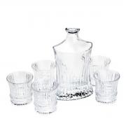 Conjunto Garrafa de Whisky 550 ml e 6 Copos de Cristal de Chumbo 240 ml