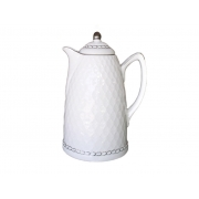 Garrafa Térmica de Porcelana Branca e Prata 900 ml