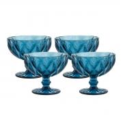 Jogo 4 Taças Coupe de Vidro Sodo-Calcico Diamond Azul 310 ml