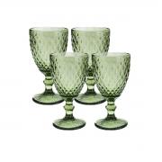 Jogo 4 Taças de Vidro p/Água Lyor Abacaxi 325 ml Verde
