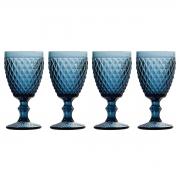 Jogo 4 Taças p/Água em Vidro Azul Bico de Abacaxi 260ml Lyor