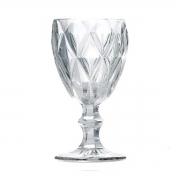 Jogo 4 Taças para Água Vidro Sodo Cálcico Diamond Transparente Lyor 325 ml