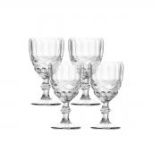 Jogo 4 Taças Para Vinho de Vidro Libelula Transparente 250ml