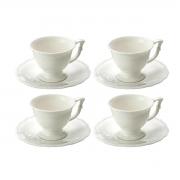 Jogo 4 Xícaras p/Café c/Pires de Porcelana Branco 100ml Lyor