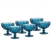 Jogo 6 Taças Coupe de Vidro Sodo-Calcico Diamond Azul 310 ml
