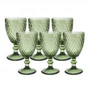 Jogo 6 Taças de Vidro p/Água Lyor Abacaxi 325 ml Verde