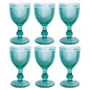 Jogo 6 Taças imperial Vidro Azul Tiffany 300 ml