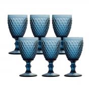 Jogo 6 Taças p/Água em Vidro Azul Bico de Abacaxi 260ml Lyor
