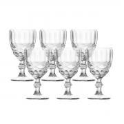 Jogo 6 Taças para Vinho de Vidro Libélula Transparente 250ml
