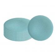 Jogo 8 Sousplats 33cm de Plástico Romance Pois Azul