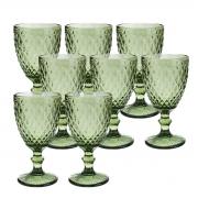 Jogo 8 Taças de Vidro p/Água Lyor Abacaxi 325 ml Verde