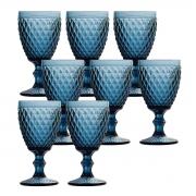 Jogo 8 Taças p/Água em Vidro Azul Bico de Abacaxi 260ml Lyor