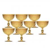 Jogo 8 Taças p/ Sorvete de Acrílico Âmbar Bon Gourmet 375ml