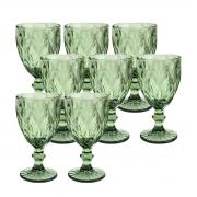 Jogo 8 Taças para Água de Vidro Diamond Verde 300 ml
