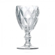 Jogo 8 Taças para Água Vidro Sodo Cálcico Diamond Transparente Lyor 325 ml