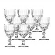 Jogo 8 Taças para Vinho de Vidro Libélula Transparente 250ml