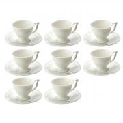 Jogo 8 Xícaras p/Café c/Pires de Porcelana Branco 100ml Lyor