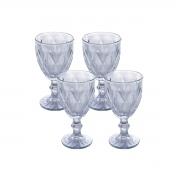 Jogo de 4 Taças p/Água Diamond Azul Metalizado 350 ml Lyor