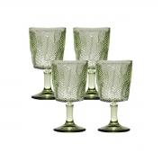 Kit 4 Taças p/ água Vidro Sodo-Cálcico Leaves Verde 300 ml