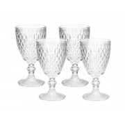 Kit 4 Taças para Água de Vidro Sodo-Cálcico Bico de Abacaxi Transparente