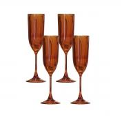 Kit 4 Taças para Champagne Acrílico Laranja In Casa 200 ml