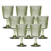 Kit 8 Taças p/ água Vidro Sodo-Cálcico Leaves Verde 300 ml