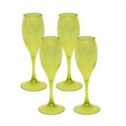 Kits 4 Taça para Champagne Acrílico Verde 220 ml