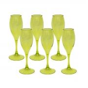 Kits 6 Taças para Champagne Acrílico Verde 220 ml