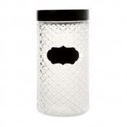 Pote em vidro com tampa preta Label 11×22 cm Bon Gourmet