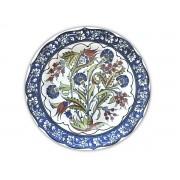 Prato Raso Flor Azul com Marrom 29,5cm 2ª Linha