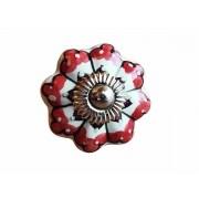 Puxador em Cerâmica Branco Detalhes Vermelhos