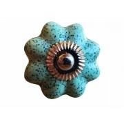 Puxador Porta em Cerâmica turquesa