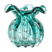 Vaso de Vidro Murano Italy Tiffany e Dourado Lyor 10x11cm