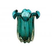 Vaso Decorativo Flat Italy Lyor Vidro Azul Rose 23×16 cm