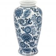 Vaso em Cerâmica Beijing Branco e Azul Home e Co