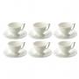 Jogo 6 Xícaras p/Café c/Pires de Porcelana Branco 100ml Lyor
