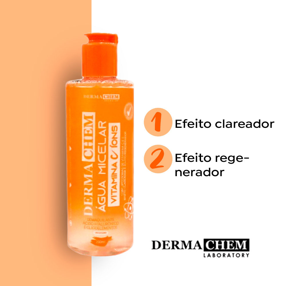 Água Micelar Demaquilante Facial Vitamina C Dermachem 250ml  - Lemis