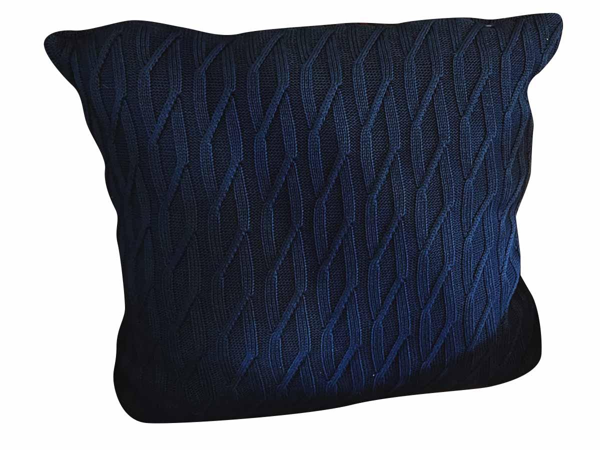 Almofada de Tricot 55x55 cm Azul  - Lemis