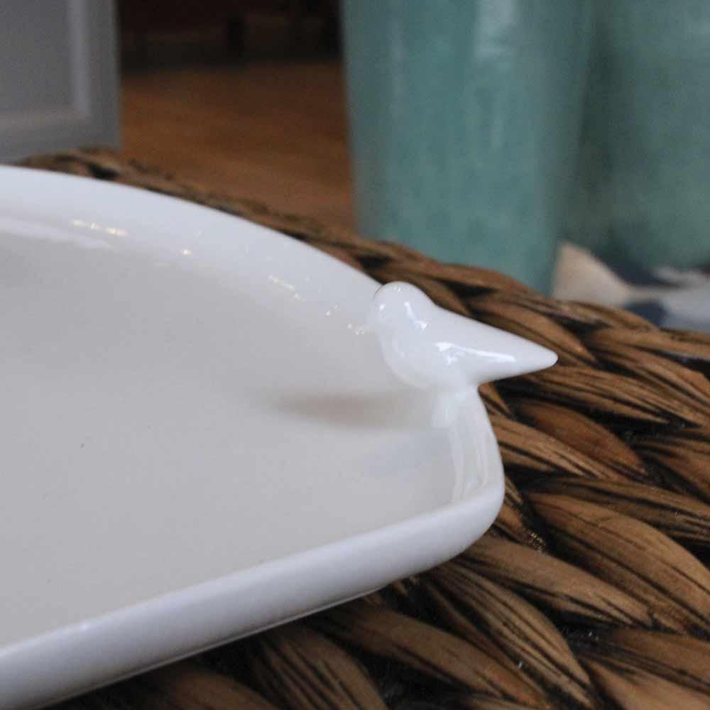 Bandeja Porcelana Birds Branco  - Lemis