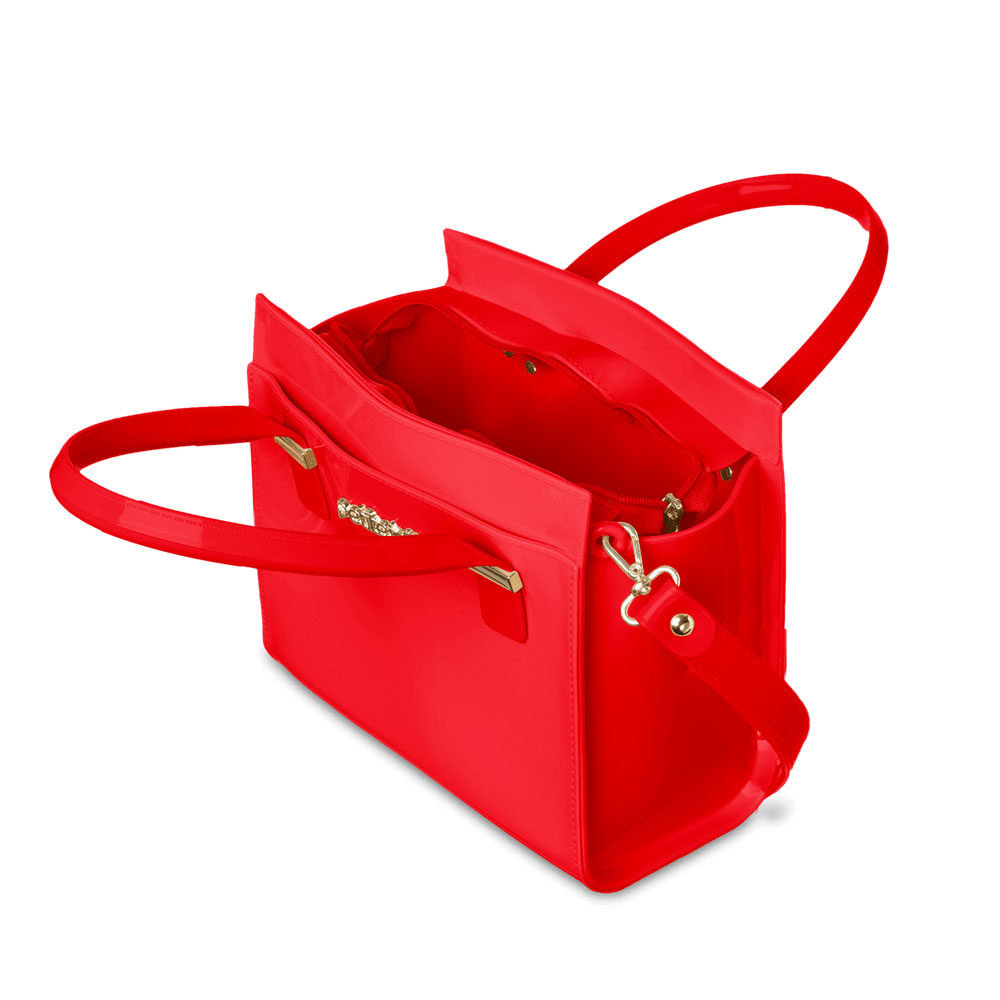 Bolsa Petite Jolie J-lastic Vermelho Hibisco com alça  - Lemis