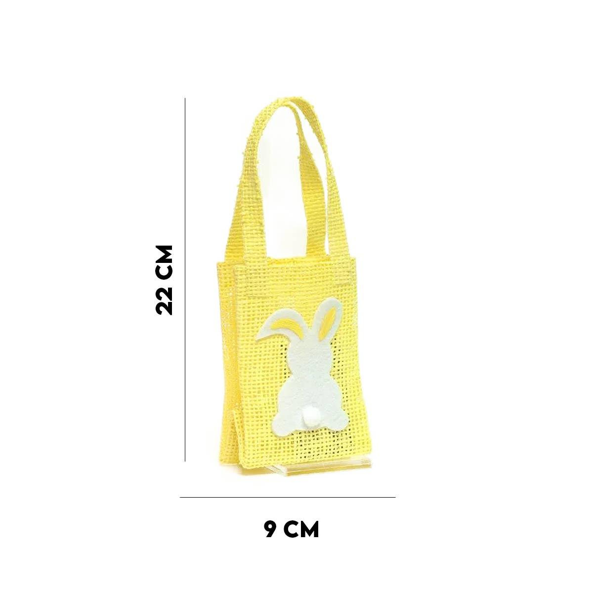 Bolsinha Com Coelho de Pompom Amarelo  - Lemis