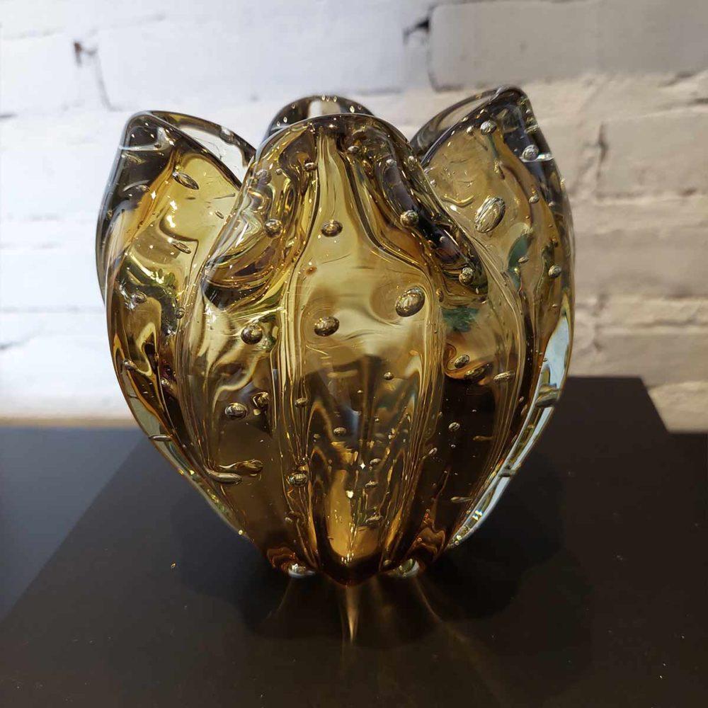 Cachepot de Vidro Murano Ambar Charming 14x9cm Cristais Tavares  - Lemis