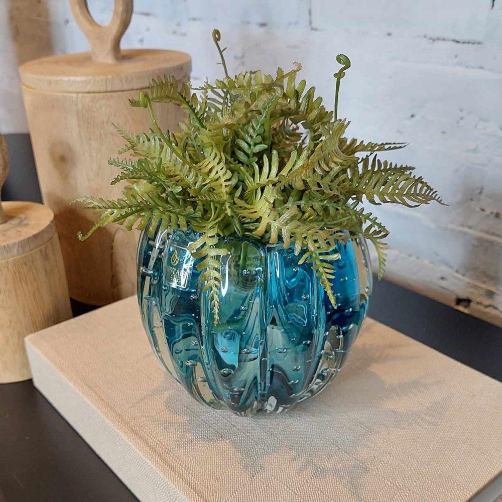 Cachepot de Vidro Murano Aquamarine Nino 12x11cm  - Lemis