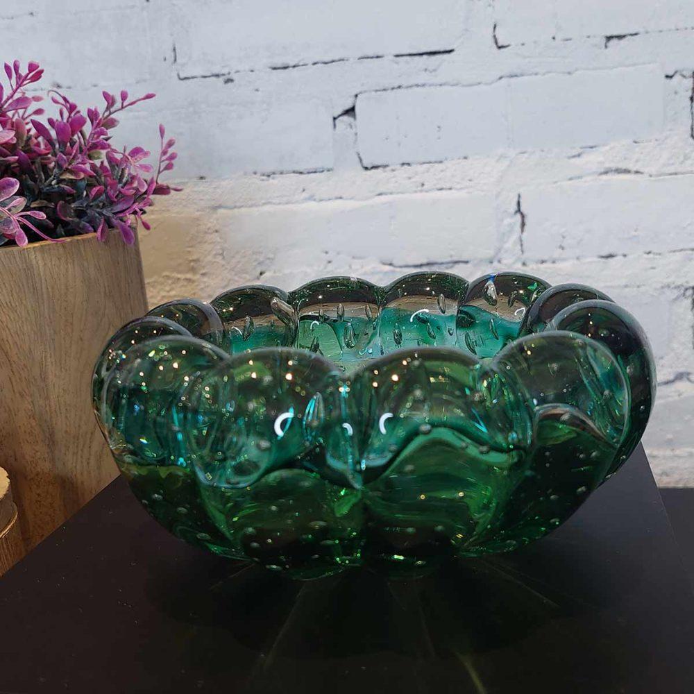 Cachepot de Vidro Murano Verde Esmeralda 6x14cm Cristais Tavares  - Lemis
