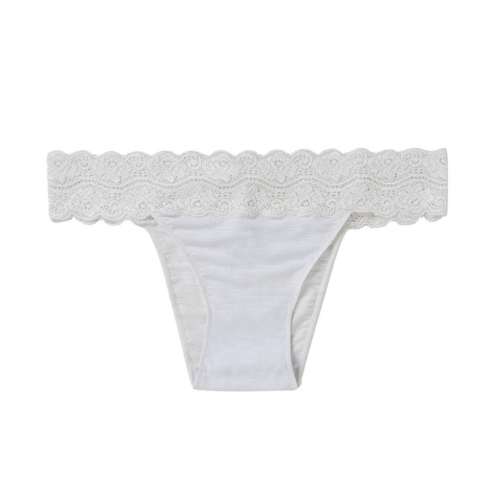Calcinha Biquini Em Modal E Detalhe Em Renda Branco Hope  - Lemis