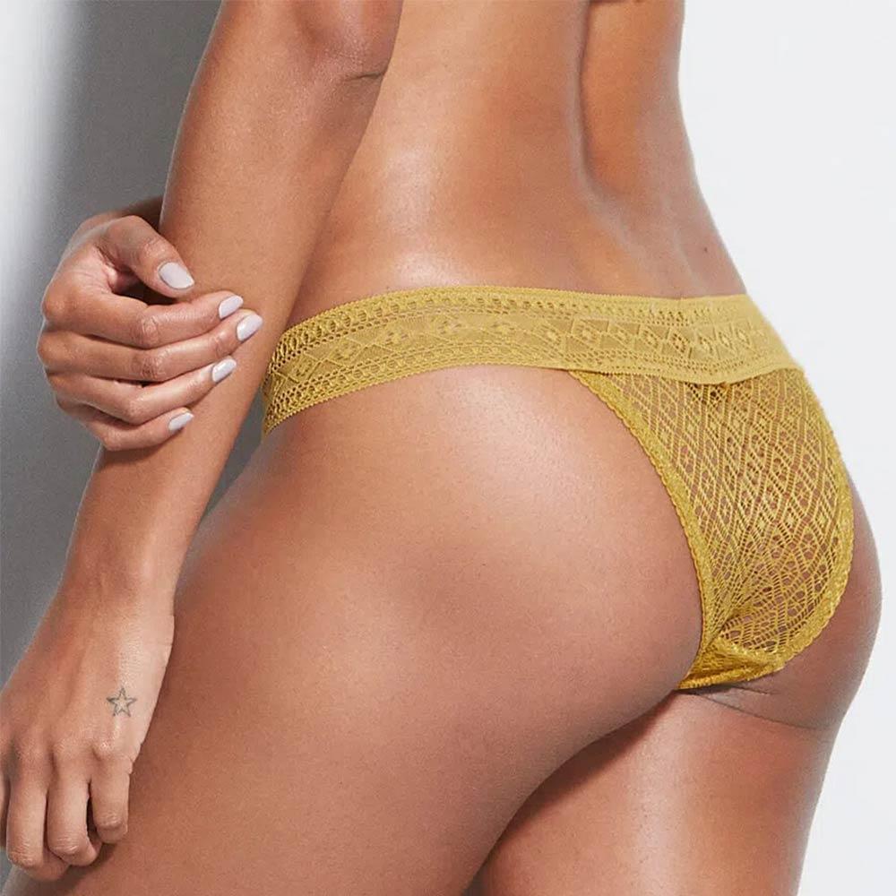 Calcinha Biquini Em Renda Amarela Ambar Hope  - Lemis